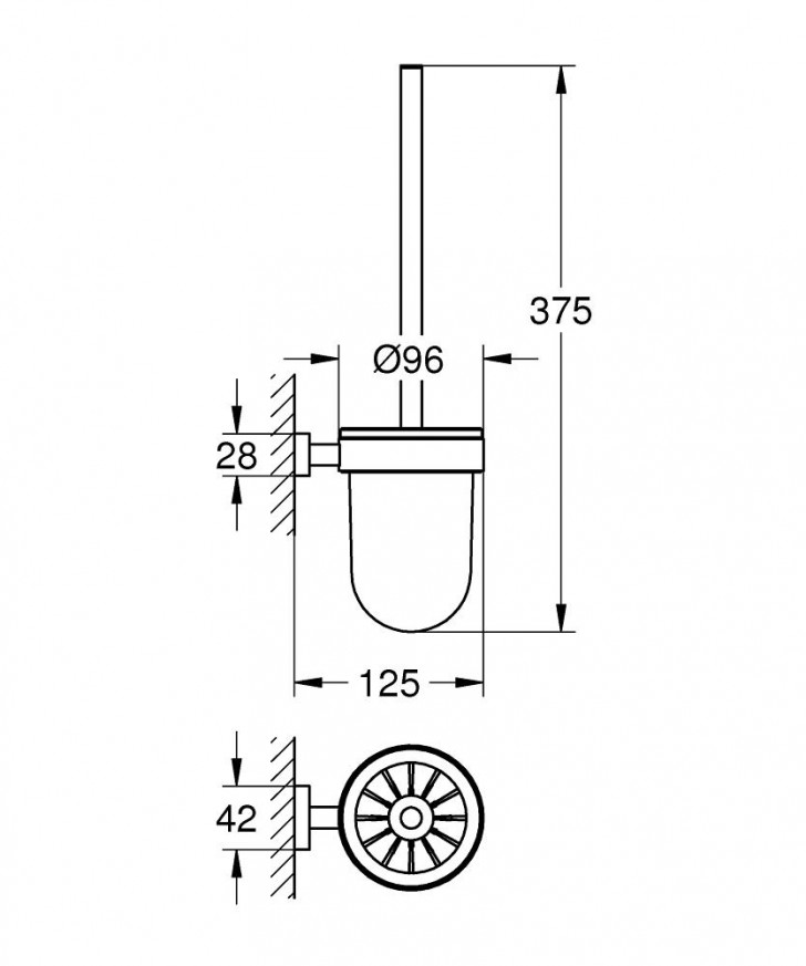 Поставка за тоалетна четка Essentials Cube хром 40513001