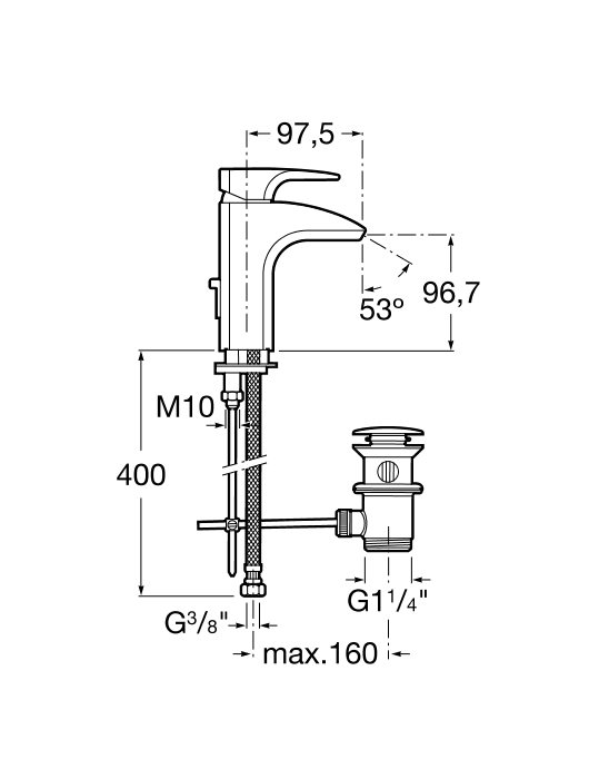 Смесител за умивалник Thesis с ограничител на дебита 8л/мин. с автоматичен изпразнител A5A3050C00