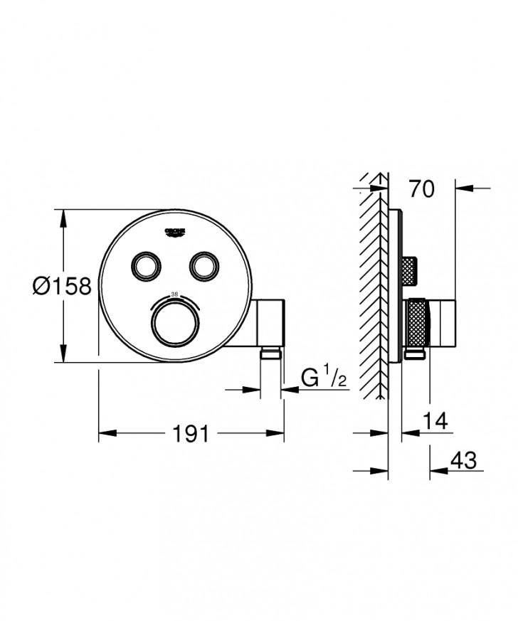 Термостат за вграждане за вана/душ Grohtherm SmartControl 29120000 с поставка за ръчен душ