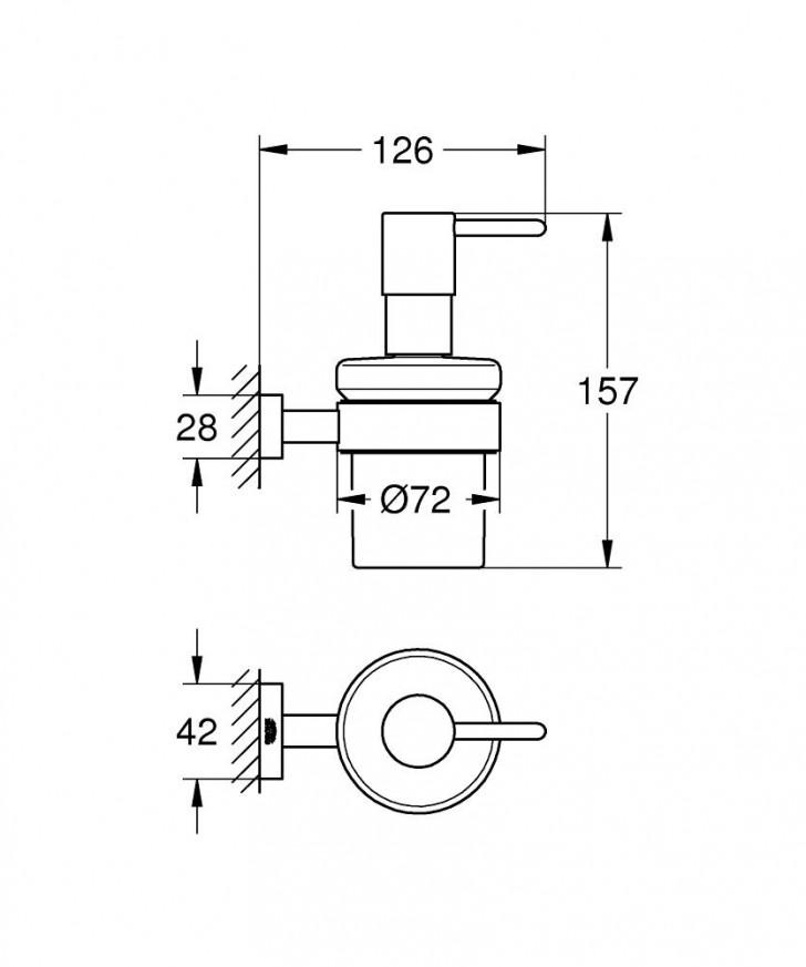 Дозатор за течен сапун с държач Essentials Cube хром 40756001