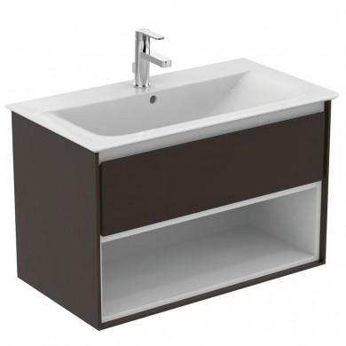 Шкаф за мивка 80 см тъмнокафяв лак+бял лак Connect Air E0827VY