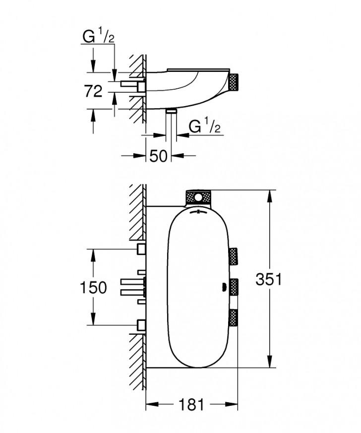 Grohtherm SmartControl Термостат за душ с 3 вентила 34713000