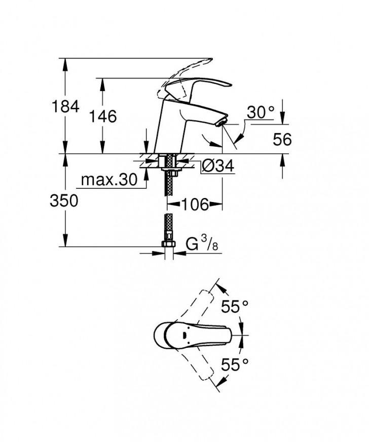 Смесител за умивалник Eurosmart  хром без изпразнител 32467002