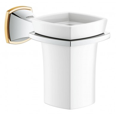 Държач с керамична чаша Grandera хром/злато 40626IG0