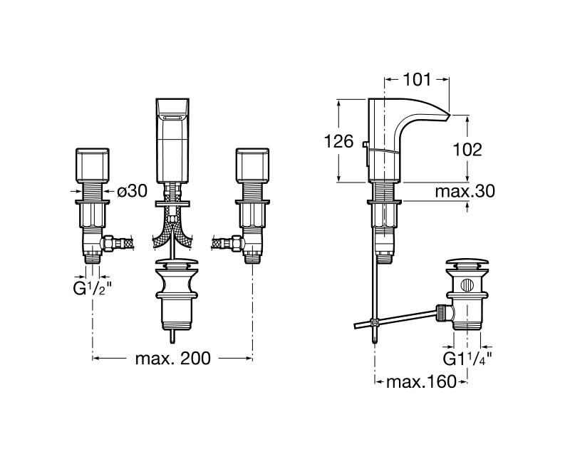 Смесител за умивалник Thesis с централен чучур и автоматичен изпразнител A5A4450C00