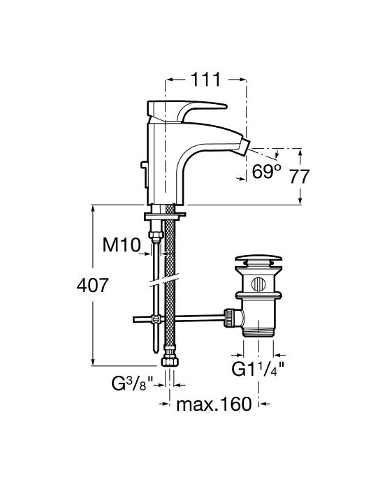Смесител за биде Thesis с автоматичен изпразнител A5A6050C00