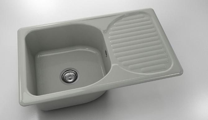 Кухненска мивка с ляв-десен плот 90х49см от полимермрамор 211