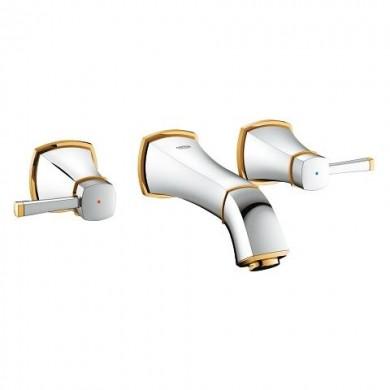 Тридупков смесител за умивалник Grandera хром/злато 20414IG0