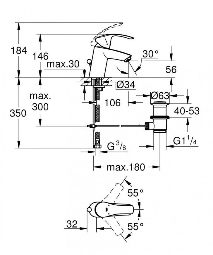 Смесител за умивалник Eurosmart хром с изпразнител 33265002