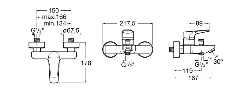Смесител за вана-душ Atlas с автоматичен превключвател A5A0290C00