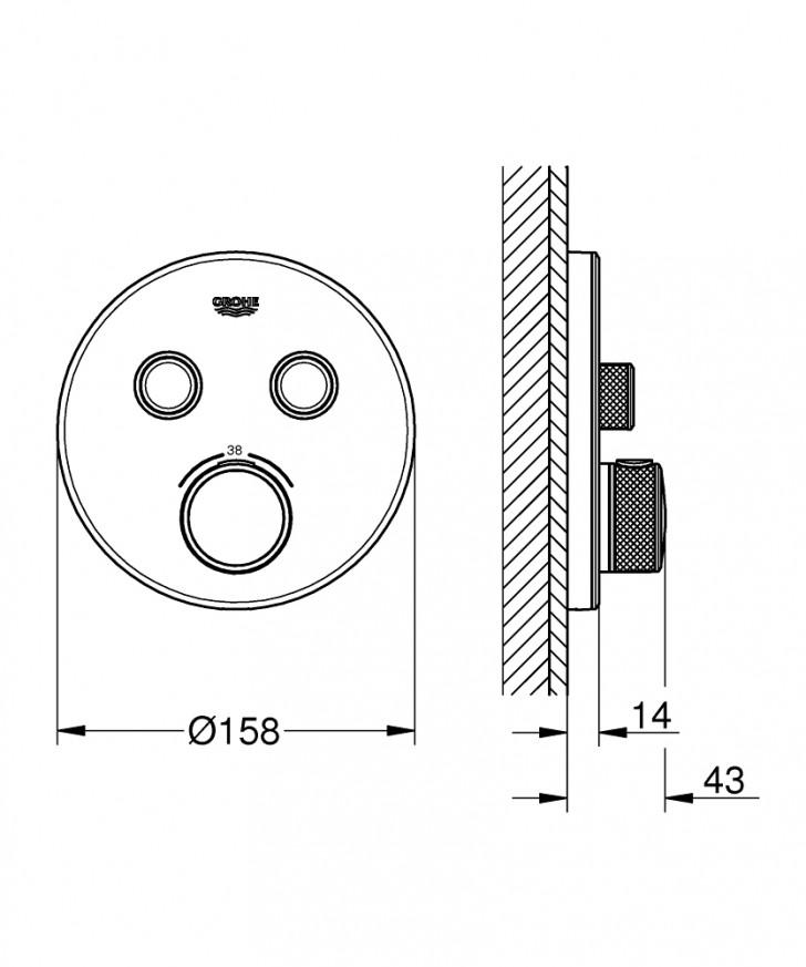 Термостат за вграждане за вана/душ Grohtherm SmartControl 29151LS0 moon white