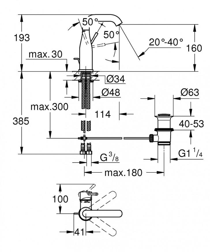 Смесител за умивалник Essence хром с изпразнител 23462001